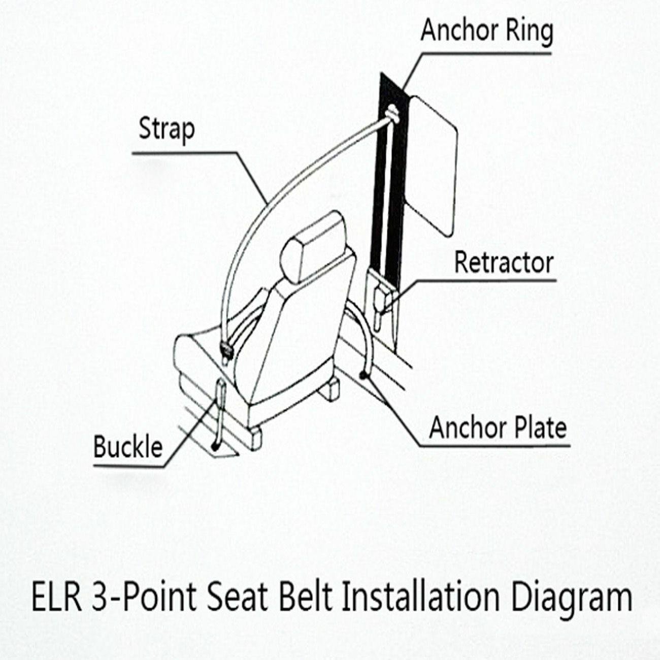 Vintage Warehouse Rear 4 Point Rear Automatic Lap /& Diagonal Seat Belt Kit Black