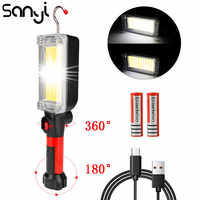 Portátil linterna de 2*18650 batería LED COB magnético trabajo iluminación Linternas para Camping lámpara para pescar de noche