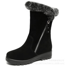 New Rabbit Hair Top Matte Cowhide Leather Boots In-tube Snow Boots Women Fashion Boots Non-slip Flat Winter Shoes Women Boots(China)