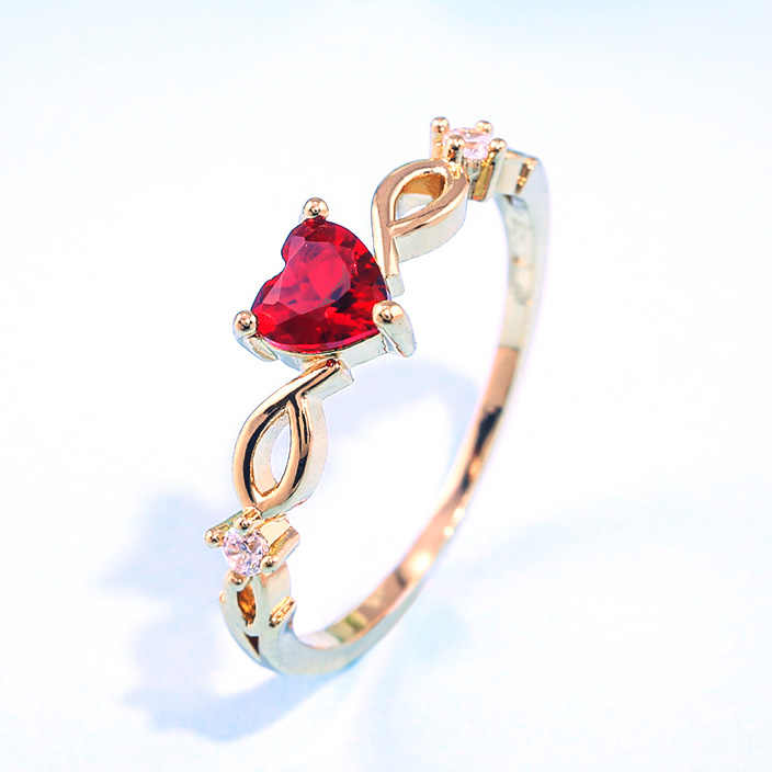 Huitan Simple Heart Ring For Women Red Green Sky Blue Zircon Stone Available Romantic Birthday Gift For Girlfriend Women Jewelry