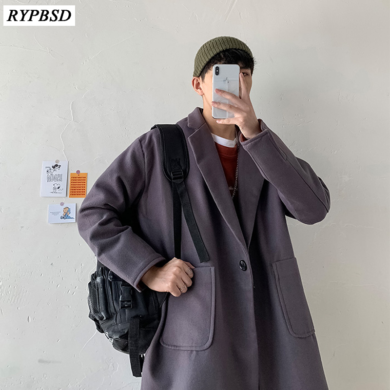 Korean Coat Men Autumn Winter Men Long Coat Wool 2019 Fashion Solid Color Single Button Loose High Quality Woolen Coat Men M-XXL