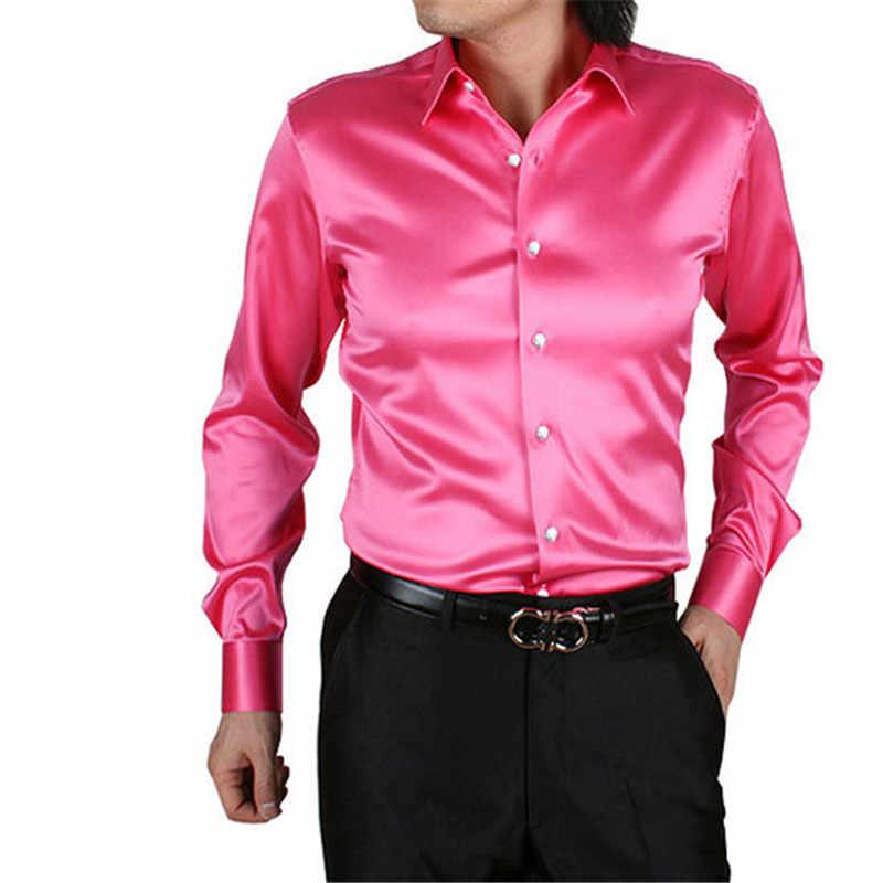Shiny Silky Satin Dress Shirt Luxury Silk Like Men Casual Performance Stage Wear