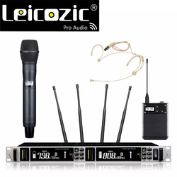 Leicozic 615-820Mhz Professional UHF wireless microphone headset+handheld microfone Wireless Mic System true diversity for stage