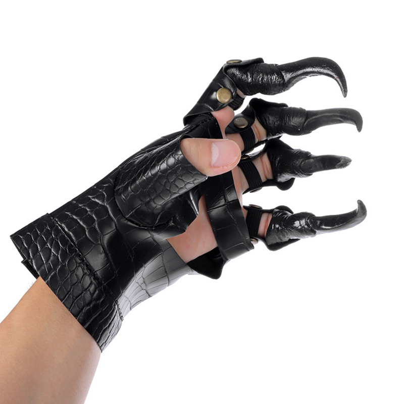 Faux Leather Party Dress Up Long Nails Metal Rivets Studded Gloves For Halloween Unisex Claw Gloves Cosplay Costume Accessories