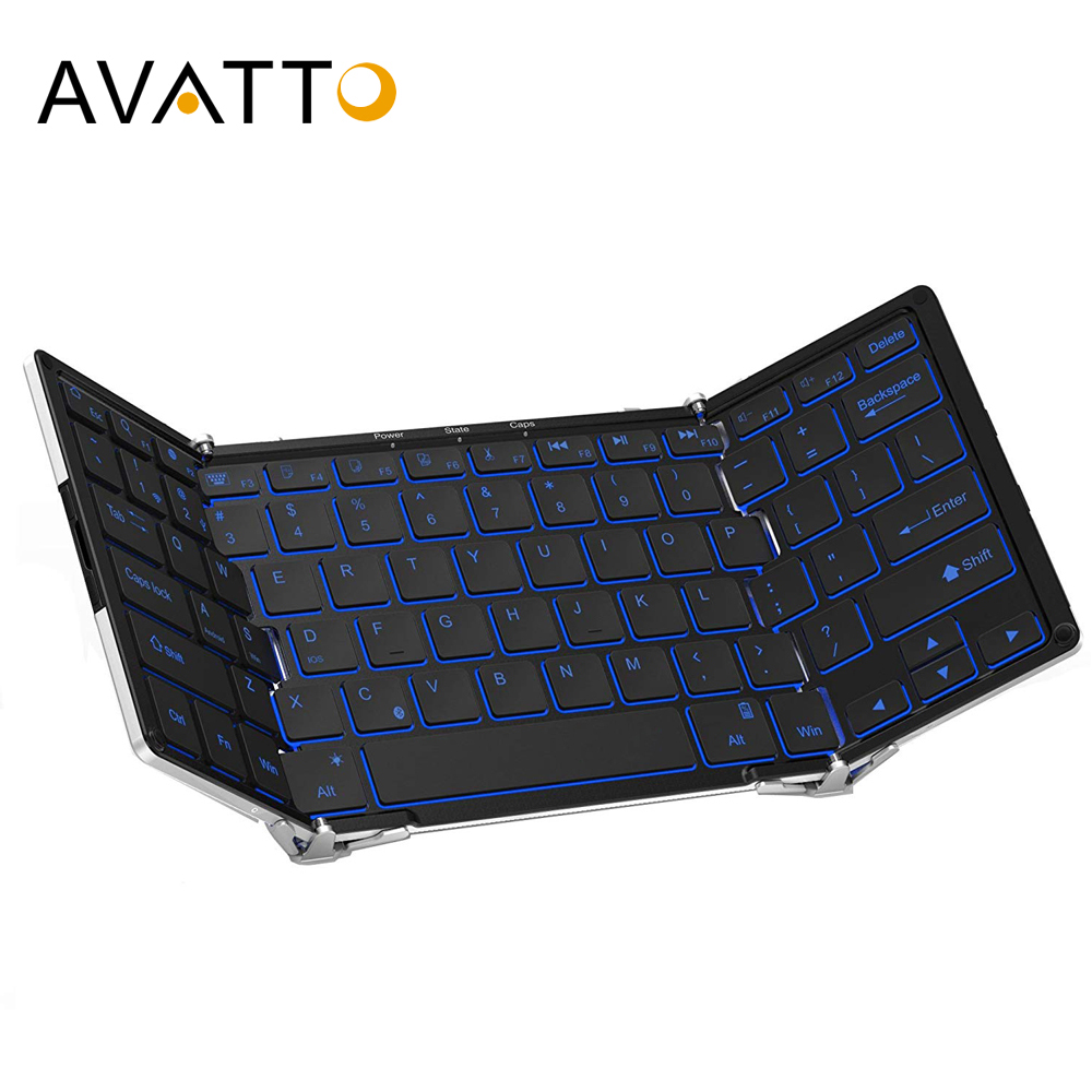 AVATTO Aluminum alloy Portable Folding Bluetooth Keyboard, BT wireless Backlit mini Tablet Keyboard For IOS/Android/Windows ipad image