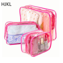 Lady Transparent PVC Cosmetic Bag Travel Organizer Women Cle