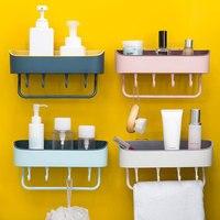 Küche Lagerung Regal Bad Platzsparende Rosa Bathrom Regal Halter Handtuch Wand-montiert Muntifunctional PP
