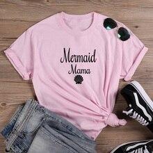 Mermaid Fashion T-shirt Women Summer Cotton T Shirt Women Ha