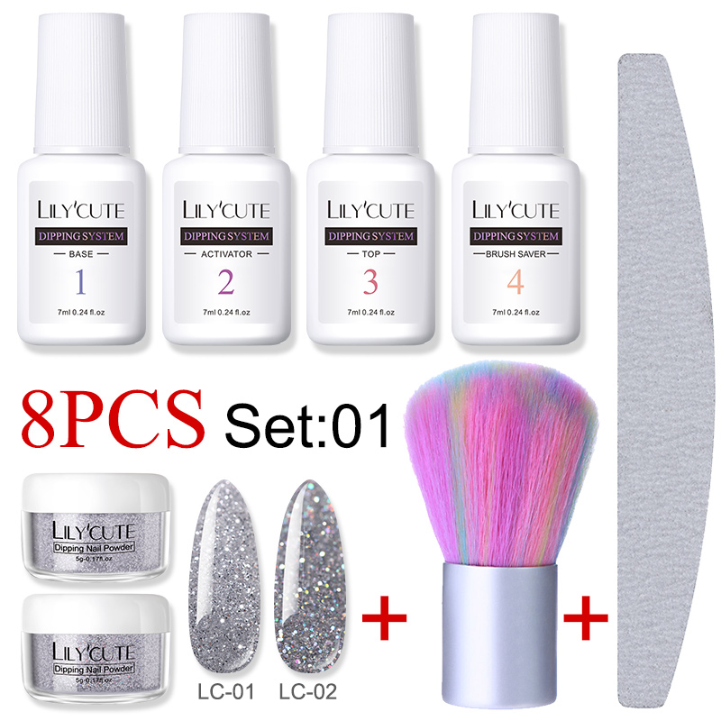 LILYCUTE 8Pcs/set Dipping Nail Glitter Powder Kits Gradient French Nail Natural Color Pigment Dry Without Lamp Cure Nail Art Set