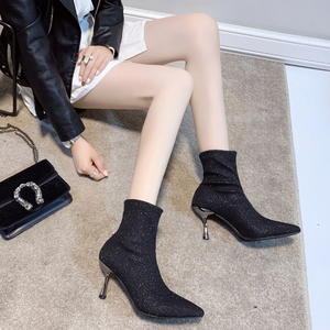 Image 2 - גרב מגפי בלינג נשים גבוהה עקב נעלי קרסול אופנה 2019 אישה נעלי נצנצים דק עקבים גבירותיי מסיבת חתונת נעליים חורף