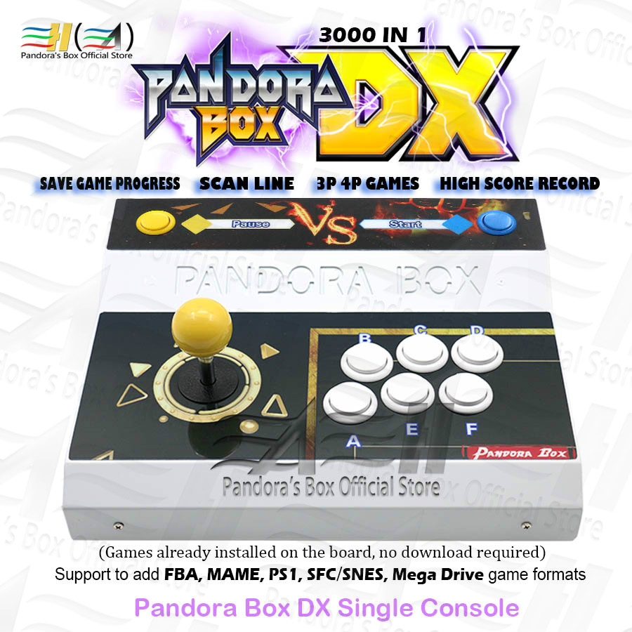 Original Pandora Box DX Single Iron Console Built-in 3000 In 1 Can Save Game Progress Plug And Play Have 3D Tekken Mortal Kombat