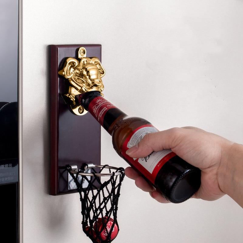 beer opener, bottle drink opener with bottle cap storage basket, for kitchen gadgets &fridge sticker decor,new arrival