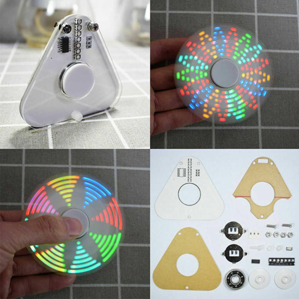 Круглый треугольник вращение интересный ручной Спиннер ручной светодиодный SMD Обучающий набор акриловый POV маленький RGB Прочный DIY