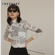 Cheerart Turtleneck Mesh Blouse Newspaper Print Tunic Sheer Top Long Sleeve White Blouse Basic Top Women Clothing arrow print tunic graphic top
