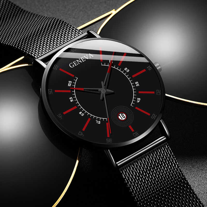 Geneva Fashion Pria Bisnis Minimalis Jam Tangan Ultra Thin Stainless Steel Mesh Belt Analog QUARTZ Watch Relogio Masculino