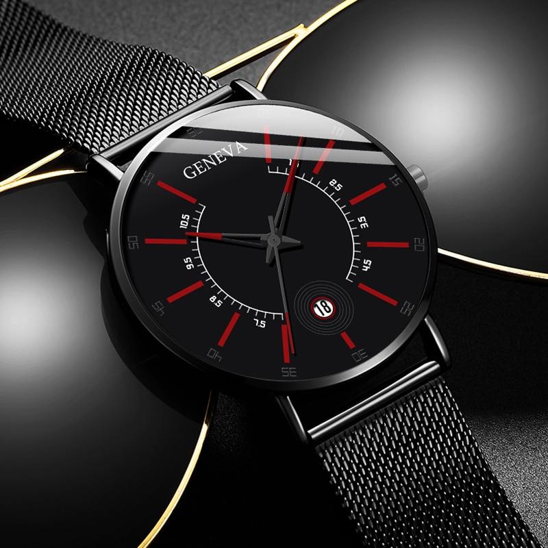 GENEVA Mens Fashion Business Minimalist Watches Ultra Thin Stainless Steel Mesh Belt Analog Quartz Watch Relogio Masculino