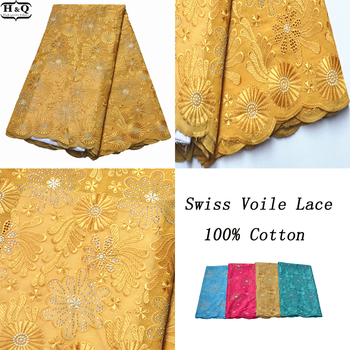 Wedding Nigerian Embroidered Lace 100% Cotton Swiss Voile Lace In Switzerland 5 Yards African Dry Lace Fabric With Stones 2020
