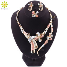 Африканские свадебные ювелирные наборы для женщин модные свадебные Дубай золото/серебряное ожерелье со стразами браслет кольцо серьги Ювелирные наборы