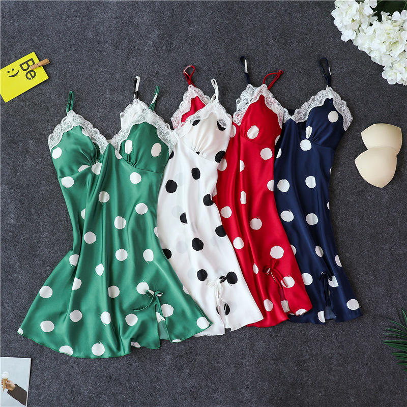 H67e3c5cbd46e4d86bc756eabde96628b6 - Women's Sexy Lingerie Silk Nightgown Summer Dress Lace Night Dress Sleepwear Babydoll Nightie Satin Homewear Chest Pad Nightwear