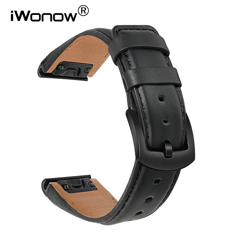 Quick Easy Fit Leather Watchband 22mm for Garmin Fenix 6 / 6 Pro / 6 Sapphire / 5 / 5 Plus / Forerunner 945/935 Watch Strap Band image