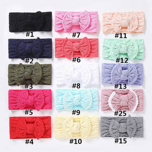 Nylon Headbands Bow-Headwrap Pompom Wholesale Trim 100pcs/Lot 27-Colors-Available Waffle-Knit