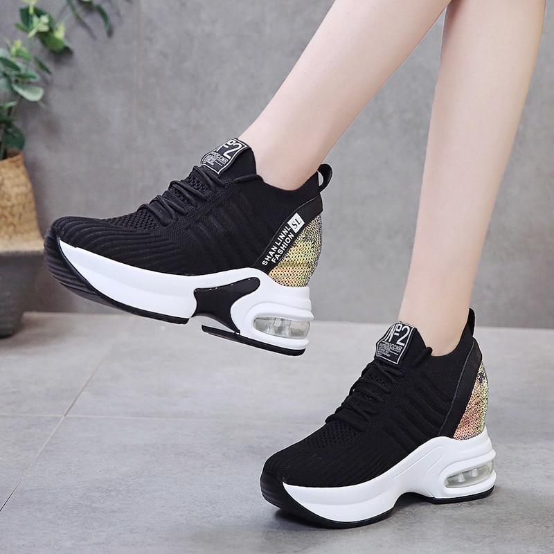 Chunky Sneaker Heels 9CM Glitter
