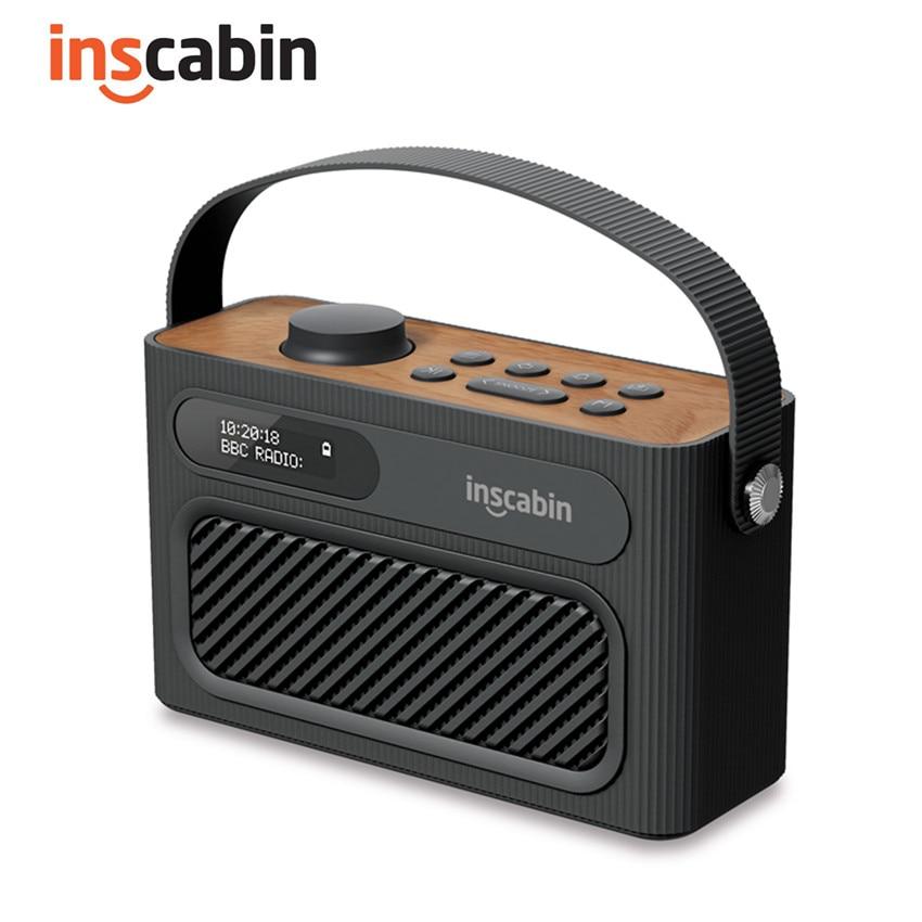Inscabin m60 estéreo dab rádio portátil sem fio alto-falante com bluetooth, fm/belo design/bateria recarregável