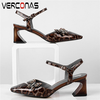 VERCONAS Women Rhinestones Butterfly High Heeled Pointed Toe Sandals Party Shoes Summer Genuine Leather Top Quality Shoes Woman