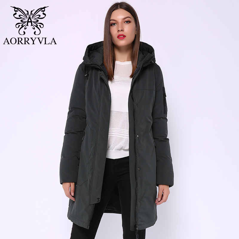 Aorryvla 2019 inverno longo jaqueta feminina com capuz jaqueta parka gola à prova de vento grosso quente casual inverno moda feminina jaquetas