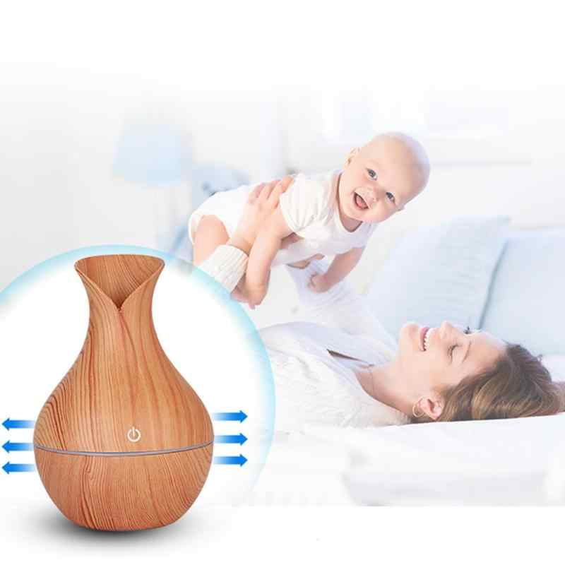 Electric Air Humidifier AROMA Oil diffuser ไม้ GRAIN mini USB Mist Maker ไฟ LED แจกันรูปร่างผ่อนคลาย Decompression