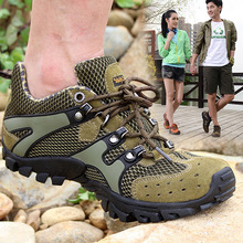 Exclusive for couples outdoor cross-country hiking shoes anti-fur mesh casual breathable large size men and women
