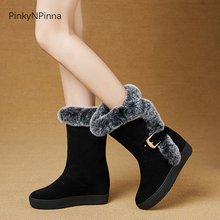 women winter snow boots rabbit fur faux suede high wedges heels outdoor warm comfortable short plush ankle booties ladies shoes sungtin fashion suede women ankle boots winter plush warm high heel short riding boots vintage embroidery ladies booties shoes