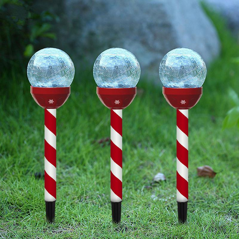 6Pcs Christmas Lights Outdoor Waterproof LED Solar Power Cracked Glass Ball Lamp For Landscape Christmas Decorative Lights Decor