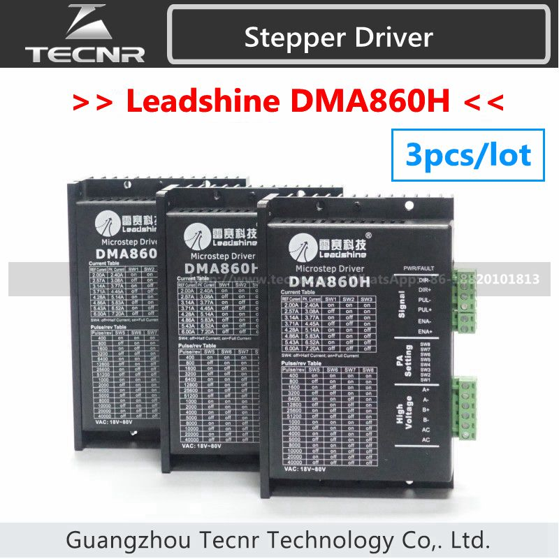 3 piezas Leadshine DMA860H controlador de motor paso a paso DC 24-80V para 86/110 Motor bifásico reemplazar MA860H, MA860