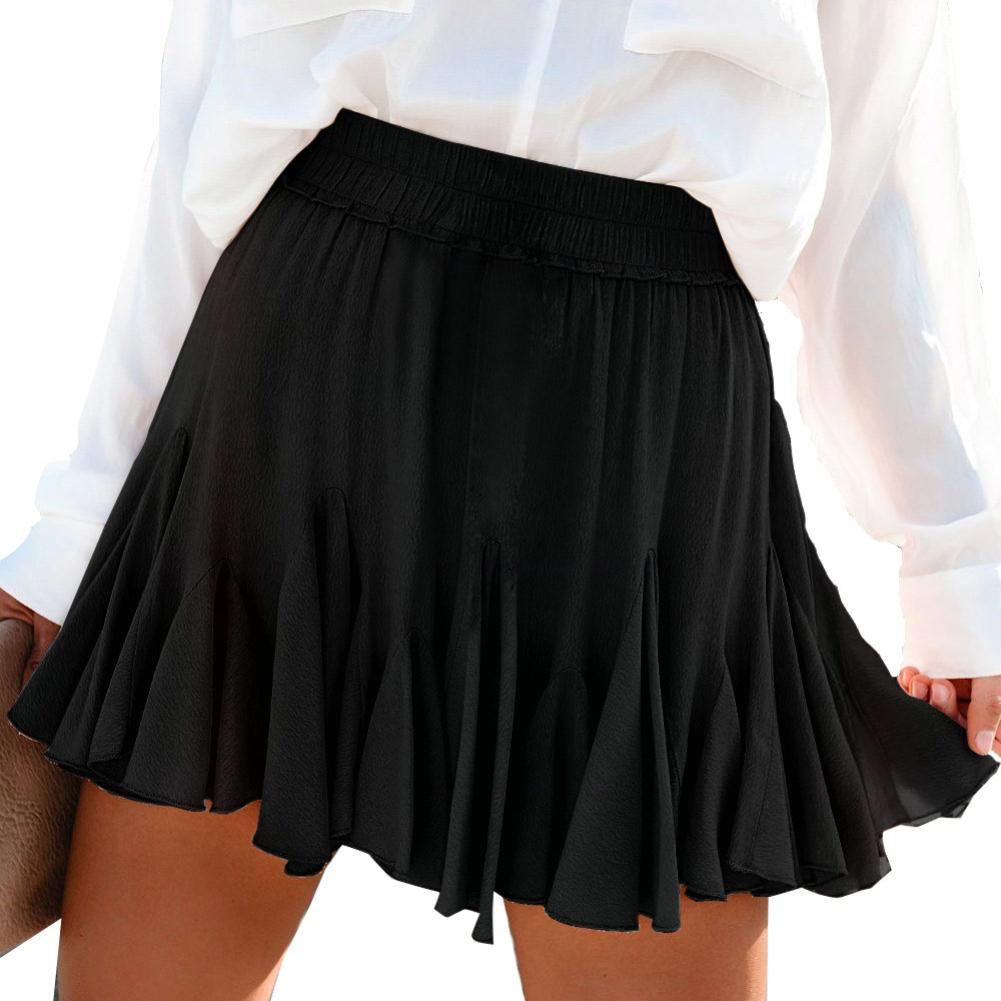 Fashion Women Summer Solid Color Elastic High Waist A-Line Pleated Mini Skirt