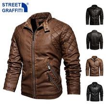 2021 Mens Motorcycle Jacket Autumn Winter Men New Faux PU Leather Jackets Casual Embroidery Biker Coat Zipper Fleece Jacket