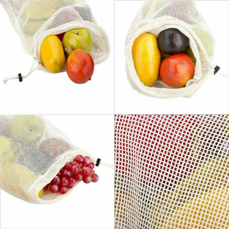 Drawstring Bag Reusable Cotton Mesh Drawstring Reusable Washable Vegetable Fruit Grocery Bag Shopping Bags Storage New /BY