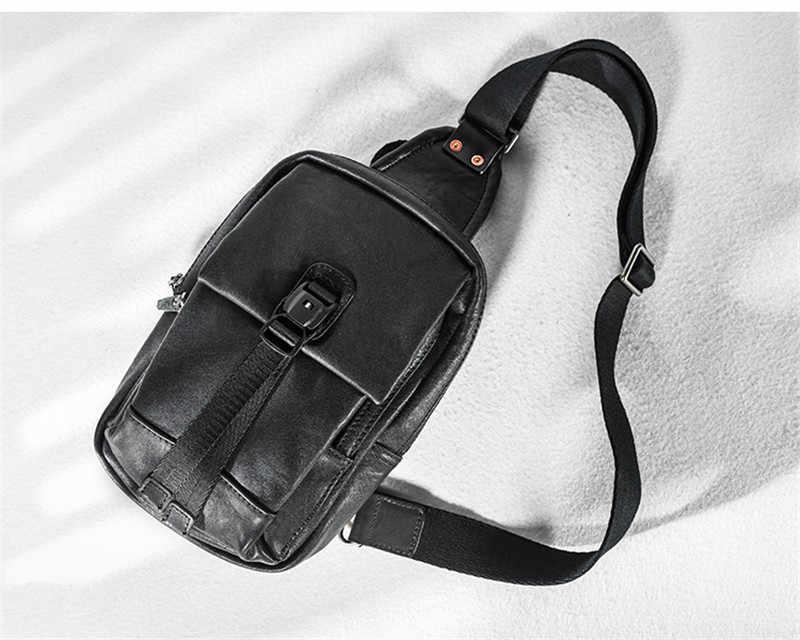 Мужская маленькая нагрудная сумка из натуральной кожи, Повседневная роскошная дизайнерская мягкая сумка из воловьей кожи, повседневный светильник, черные сумки через плечо