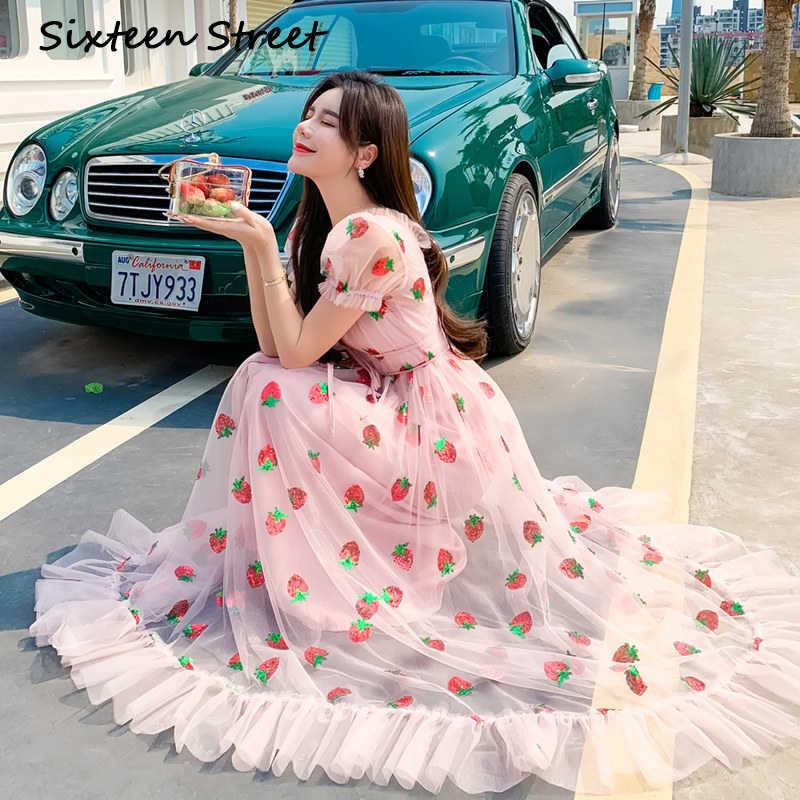 2020 新しい夏の女性のドレスピンクイチゴスパンコール刺繍フリル半袖 v ネックドレス休日カジュアルロングドレス