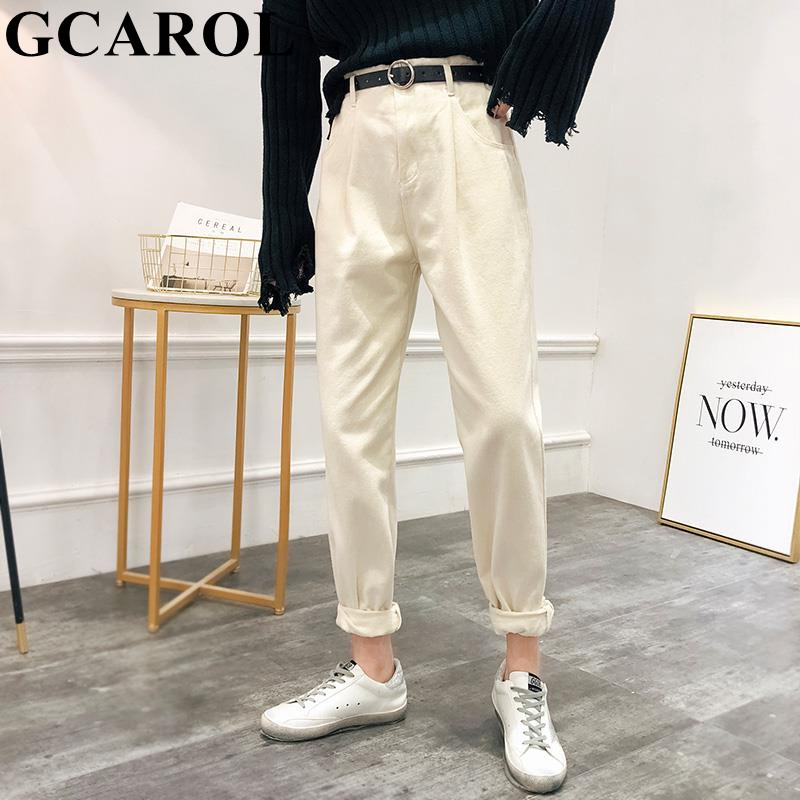 GCAROL New Women High Elastic Waisted Harem Pants With Belt Retro Old Style Fall Spring Ankle Length Pants Streetwear Trousers