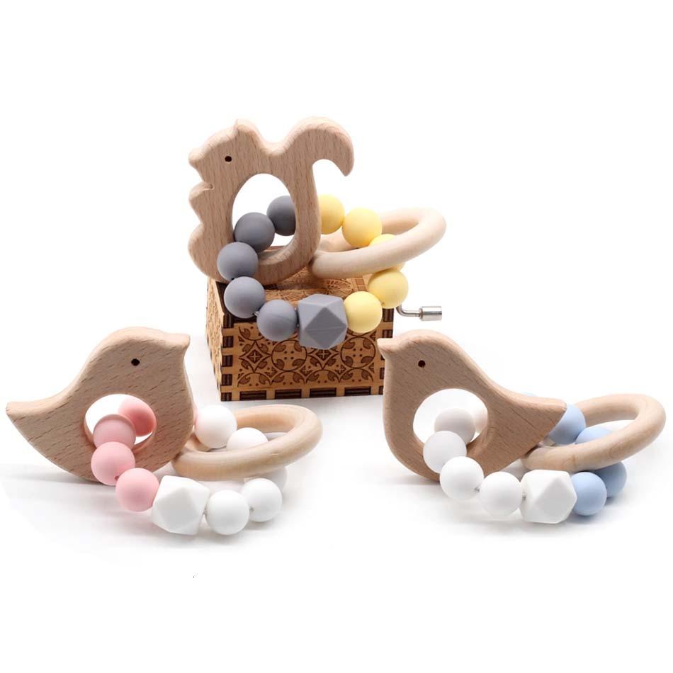 Anneau de dentition en bois naturel Silicone | 1 pièce, anneau de dentition pour bébé, perles à mâcher, Bracelets, tissage à la main, Bracelet jouets cadeaux