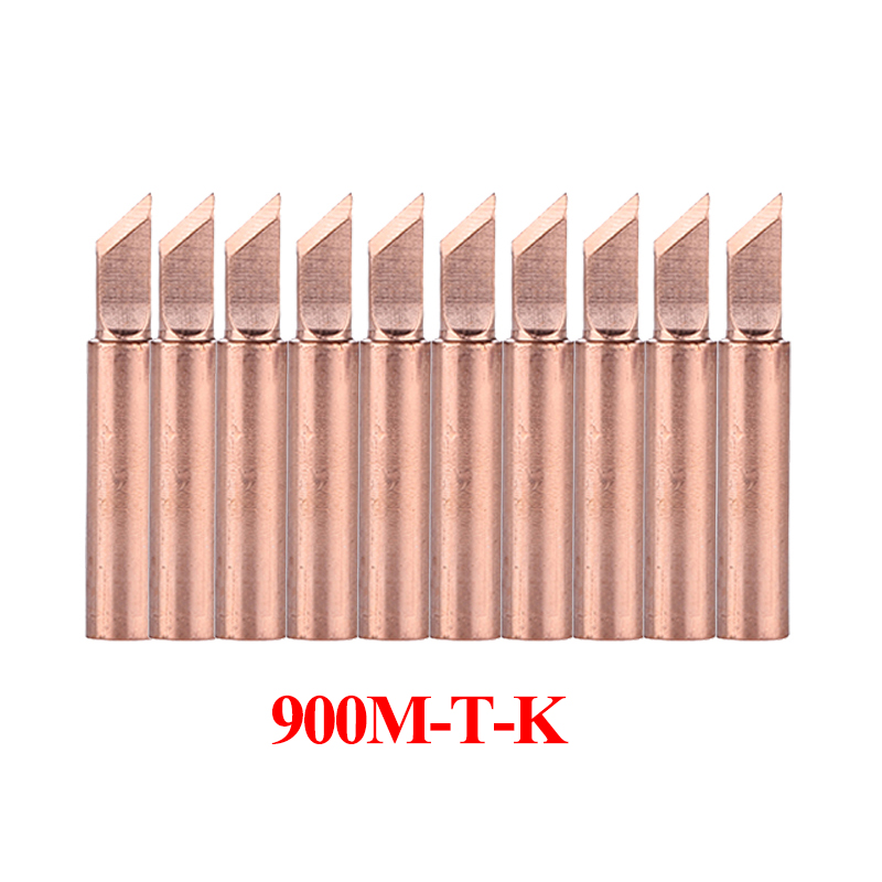10Pcs/lot Pure Copper Soldering Iron Tip 900M-T-K Welding Sting Solder Tip For 936 Soldering Rework Station