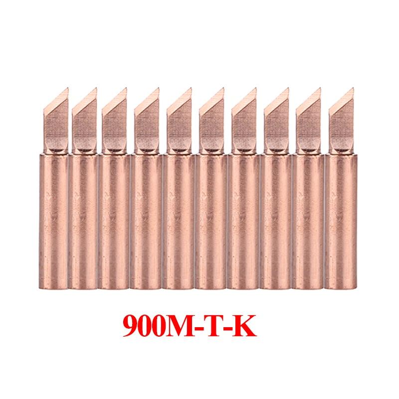 10Pcs/lot Pure Copper Soldering Iron Tip 900M-T-K Welding Sting Solder Tip For 936 Soldering Rework Station