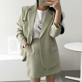 2 piece outfits for womennew style solid color single-breasted temperament suit jacket skirt female two-piece skirt elegant suit black solid color swimwears two piece outfits