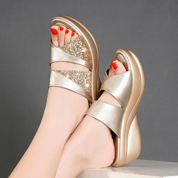 Spring Brand Bling Slipper Woman Shoes Ladies PU Leather Wedges Flat Shoes Female Casual Slingbacks Sandals Comfortable Platform 1