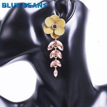Женские серьги в виде цветка подвески с кристаллами синего цвета
