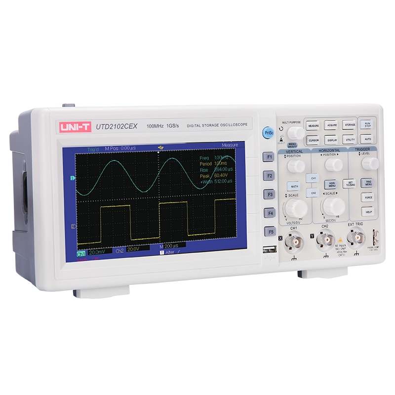 UNI-T UTD2102CEX Digital Storage <font><b>Oscilloscope</b></font> Dual-Channels <font><b>100MHz</b></font> Bandwidth 1GSa/s Sample Rate USB Communication 7inch TFT LCD image