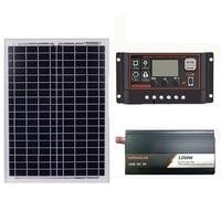 18V20W Solar Panel +12V 30/40/50/60A Controller + 1200W Inverter Dc12V Ac230V Solar Power Generation Kit, For Outdoor And Home(3