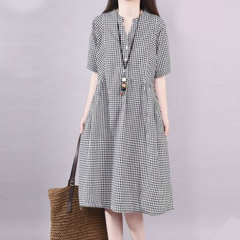 Black Plaid V Neck Summer Plus Size Casual Loose Dress Red Short Sleeves Cotton Linen Large Pockets Fashion