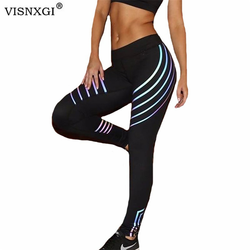 VISNXGI Fashion Women Leggings High Waist Elasticity Leggings Fitness Stripe Printed Leggins Breathable Soft Pants Jeggings XXXL